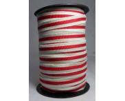 Cadarço 10 mm PAC - Fundo Cru / Listra Vermelha - 50 metros