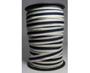 Cadarço 10 mm PAC - Fundo Cru / Listra Marinho - 50 metros