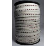 Cadarço 10 mm AC101F - Fundo Cru / Pesponto Vinho - 50 metros