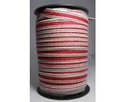 Cadarço 10 mm PA2F - Fundo Cru / List Vermelho / Pes. Pto - 50 metros