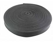Cadarço 100% Algodão - Espinha de Peixe - PRETO - 25 mm - 50 metros
